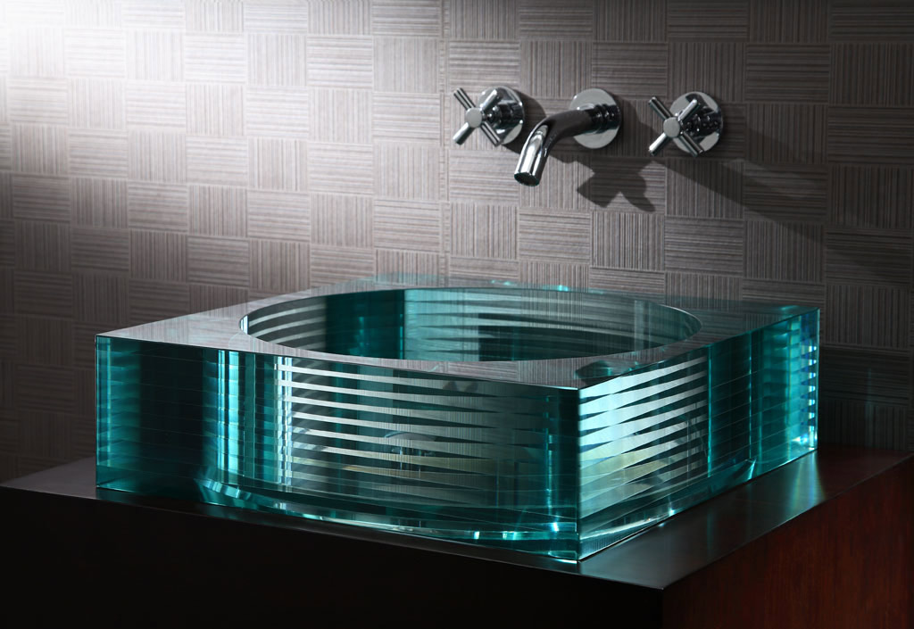 Xylem GV105RSQ Segment Square Glass Vessel Sink. Depth, Clarity And  Strength Of Tempered Glass. Green Tinted. Nominal Dimensions: 17.7u0027u0027 Width  X 17.7u0027u0027 ...