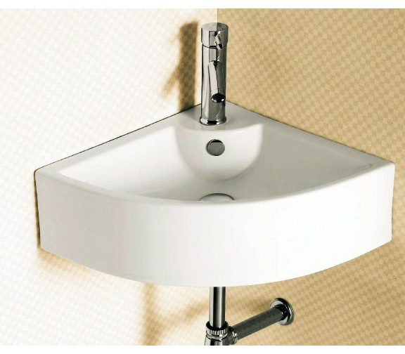 Bathroom With Corner Sink : contemporary, corner, white ceramic wall mounted bathroom sink ...