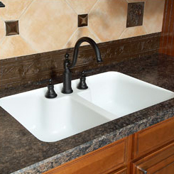 Genial Hampton Double Equal Bowl Undermount Sink With Integrated, Recessed Faucet  Deck.