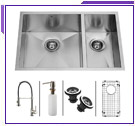 Combo Kitchen Sinks w/ Faucet & Accessories Included